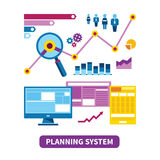 Planning system vector concept in flat style Stock Photography