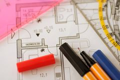 Planning tools. Some planning tools on floorplan Royalty Free Stock Photos