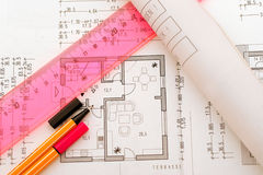 Planning tools on floorplan Royalty Free Stock Photo
