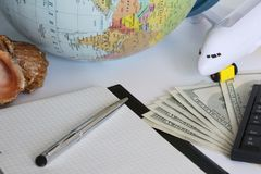 Planning a trip around the world. On holiday with the whole family stock photos