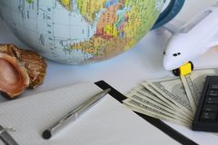 Planning a trip around the world. On holiday with the whole family royalty free stock photo