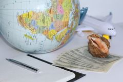 Planning a trip around the world. On holiday with the whole family royalty free stock photos
