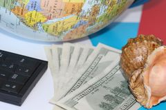 Planning a trip around the world. On holiday with the whole family stock image