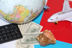 Planning a trip around the world. On holiday with the whole family royalty free stock photography