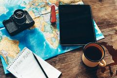 Travel Equipment Hiking Plan, Map, Film Camera And Digital Tablet. Royalty Free Stock Photography
