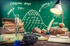 Planning the trip for oil and coal samples Royalty Free Stock Photo
