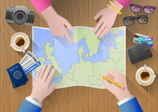Planning a trip to Europe. Young couple adventurous. Stock Photography