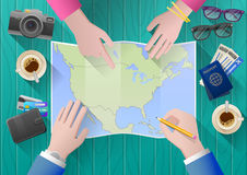 Planning a trip to North America. Royalty Free Stock Images