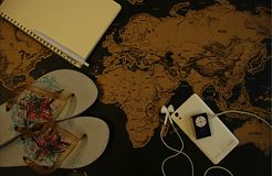 Planning a trip on world map stock photos