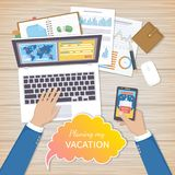 Planning Vacation Concept. Businessman at work plans his summer vacation. Mobile applications, web site on the smartphone. And laptop screen, booking in advance Stock Photo
