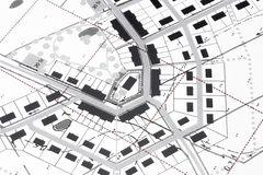 Planning Village. Architectural Drawings in computer aided early and geometrical CAD style with black and some red ink royalty free stock photography