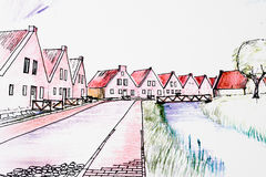 Planning Village. Architectural skatch of a village with New Urbanism style, Drawings in computer and hand craft finished style with black and some colored Royalty Free Stock Photos