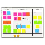 Planning whiteboard organizer with sticker notes. stock illustration