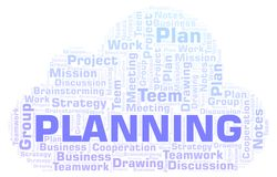 Planning word cloud. Wordcloud made with text only royalty free illustration