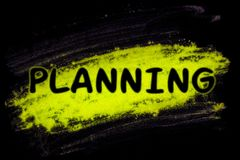 Planning word with glow powder. Planning word with yellow glow powder on black background vector illustration