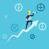 Planning work. Businessman lurking from a distance and stand above the arrow growth. Concept business  illustration. All of the situation in office, unique life Royalty Free Stock Image