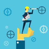 Planning work. Businessman lurking from a distance and standing on hands. Concept business  illustration. Worker daily life and project planning business Stock Image