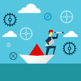 Planning work. Businessman lurking from a distance and standing on paper boat. Concept business  illustration. Businessman illustration in office lifestyle Royalty Free Stock Photography