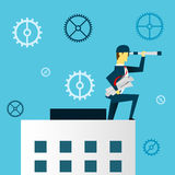 Planning work. Businessman lurking from a distance and stood on the roof of the building. Concept business  illustration. All of the situation in office, unique Royalty Free Stock Image