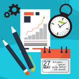 Planning workflow. Against the background of office items like watches, pens, calendar, schedule. Vector Stock Photos