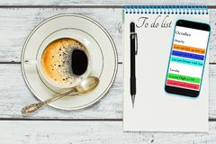 Planning your time during coffee break concept Stock Photo
