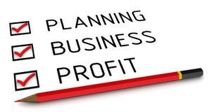 Planning, zaken, winst Lijst met de vinkjes royalty-vrije illustratie
