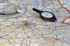 Planningsreis bij de kaart Stock Afbeelding