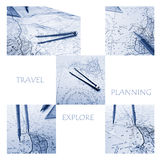 Plannning for Travel and exploring Concept. A monochromatic blue collage image for the concept of planning to travel and explore.  Taken with compass, nautical Stock Images