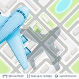 Plano abstrato e avião da cidade ilustração royalty free