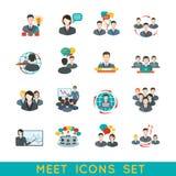 Plano ajustado ícones da reunião ilustração royalty free