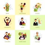 Plano ajustado ícones das fases da vida humana Fotografia de Stock Royalty Free