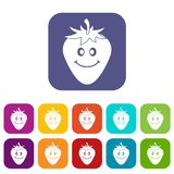 Plano ajustado ícones de sorriso maduro da morango Imagens de Stock Royalty Free