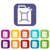 Plano ajustado ícones do bidão do combustível ilustração do vetor