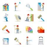 Plano ajustado ícones do pintor Fotografia de Stock Royalty Free