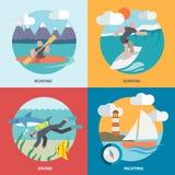 Plano ajustado ícones dos esportes de água Fotografia de Stock Royalty Free