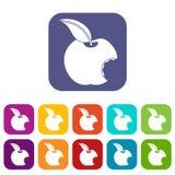 Plano ajustado ícones mordido da maçã ilustração stock