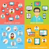 Plano ajustado da saúde ícones móveis ilustração royalty free
