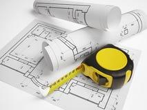 Plano arquitetónico com uma fita métrica Foto de Stock Royalty Free