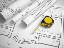 Plano arquitetónico com uma fita métrica Imagens de Stock Royalty Free