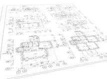 Plano arquitetónico detalhado Foto de Stock Royalty Free