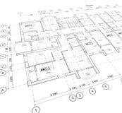 Plano arquitetónico detalhado, opinião de perspectiva Imagem de Stock Royalty Free