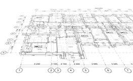 Plano arquitetónico detalhado, opinião de perspectiva Foto de Stock