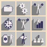 Plano com ícones à moda do negócio do conceito da sombra Foto de Stock