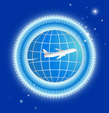 Plano com terra e estrelas Imagens de Stock Royalty Free
