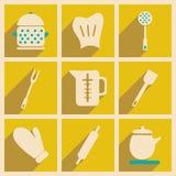 Plano con concepto de la sombra y artículos de cocina de la aplicación móvil Imagen de archivo