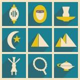 Plano con concepto de la sombra y los iconos del este de la aplicación móvil Imágenes de archivo libres de regalías