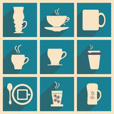 Plano con el descanso para tomar café del concepto de la sombra y de la aplicación móvil Foto de archivo
