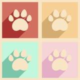 Plano con los rastros del concepto y de la aplicación móvil de la sombra de animales Fotografía de archivo libre de regalías