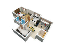 plano 3D de uma unidade de moradia ilustração royalty free