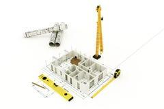 Plano da arquitetura de uma casa residencial Imagens de Stock